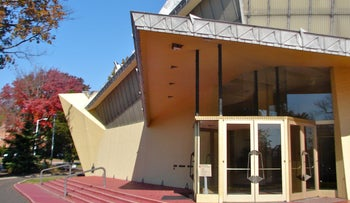 The entrance to Beth Sholom Synagogue, designed by Frank Lloyd Wright, in Elkins Park, Pennsylvania.