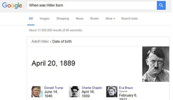 A screenshot of a Google search for 'When was Hitler born'. Note the image of Donald Trump in the lower left corner.