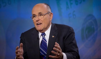 Former New York mayor Rudy Giuliani speaks during a Bloomberg Television interview, March 6, 2013.