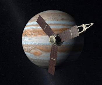 An artist's rendering shows the Juno spacecraft above the planet Jupiter.