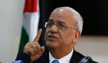Senior Palestinian official Saeb Erekat speaks in Ramallah on July 4, 2016.