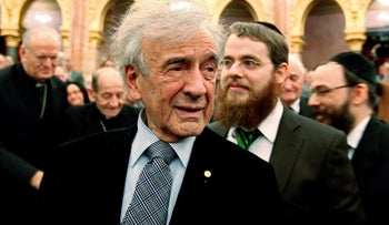 Peace Prize winner and Holocaust survivor Elie Wiesel attending a symposium of Jewish-Hungarian solidarity in Budapest, December 9, 2009.