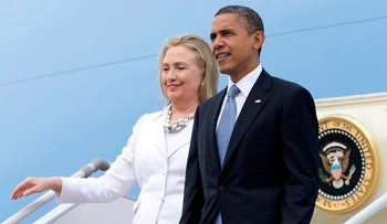 Barack Obama and then-Secretary of State arrive in Myanmar in 2012. They will travel together again for their first joint campaign appearance July 5, 2016.