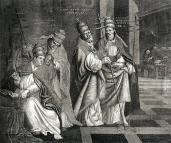 Four popes depicted together: Innocent VI, Clement VIII, Clement VI (second from right) and Urban V.