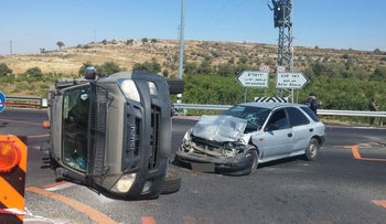 The scene of a car-ramming attack near the West Bank settlement of Neve Daniel, July 6, 2016.