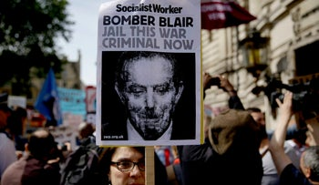 Demonstrators in the streets of London on Wednesday after the release of the Chilcot inquiry report.