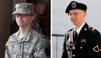 Photos shows U.S. soldier Chelsea Manning, who was born male Bradley Manning but identifies as a woman.