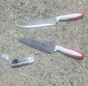 The knives found on the bodies of the two Palestinians at the Qalandiyah checkpoint in the West Bank, April 27, 2016.