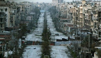 A view of war-ravaged Aleppo in March 2015.