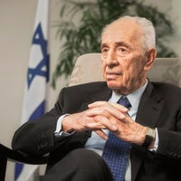 Shimon Peres speaks during an interview with The Associated Press in Jerusalem