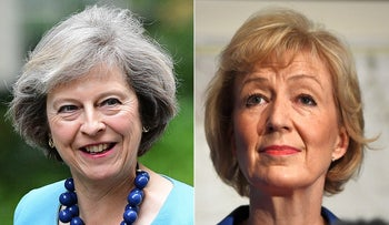 This combination of file pictures created on July 7, 2016, shows British Conservative Party leadership candidate Theresa May and British Conservative Party leadership candidate Andrea Leadsom.