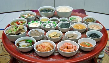 A traditional Korean meal.