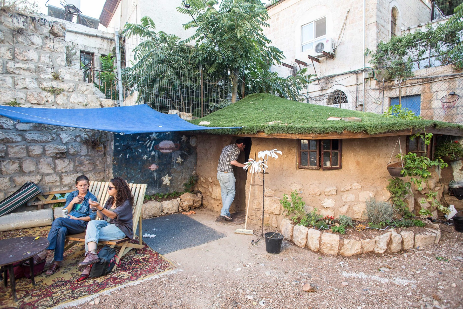City oasis: Outside the building on Agron Street, Jerusalem
