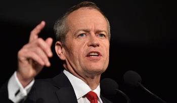 This file photo taken on July 2, 2016 shows leader of the Australian Labor Party Bill Shorten speaking onstage about the Australian Federal Election in Melbourne.