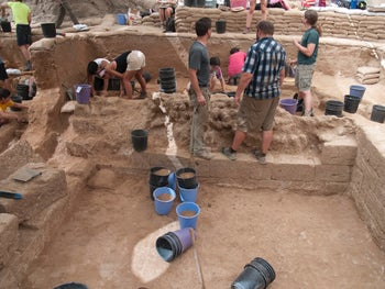 Archaeologists investigating the first unmistakably Philistine burial ground found in Israel, in Ashkelon. July 2016.