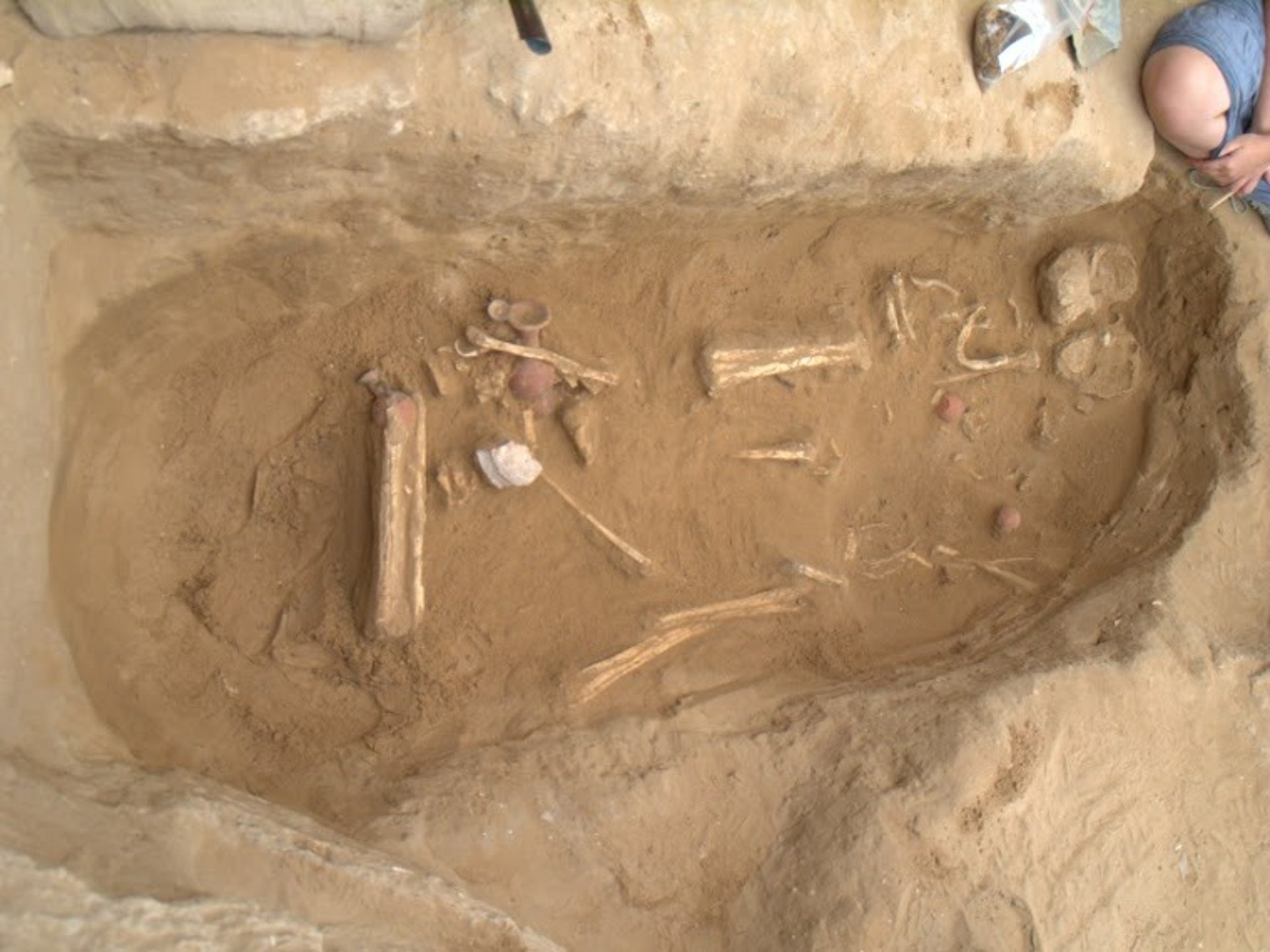 Artifacts found with the skeletons in the Philistine graveyard in Ashkelon are indicative of Philistine culture, not Canaanite.