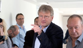 Joerg Meuthen, co-leader of the party Alternative for Germany (AfD), speaks to journalists in Stuttgart, Germany, July 6, 2016.