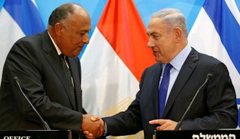 Prime Minister Benjamin Netanyahu meets with Egypt's Foreign Minister Sameh Shoukry in Jerusalem on July 10, 2016.