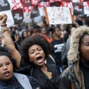 Demonstrators from the Black Lives Matter movement march during a demonstration against the killing of black men by police in the U.S., London, U.K., July 10, 2016.