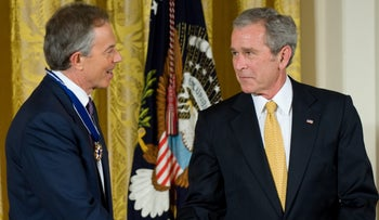 Then U.S. President George W. Bush presents the Presidential Medal of Freedom to former British Prime Minister Tony Blair, Washington, DC, U.S., January 12, 2009.