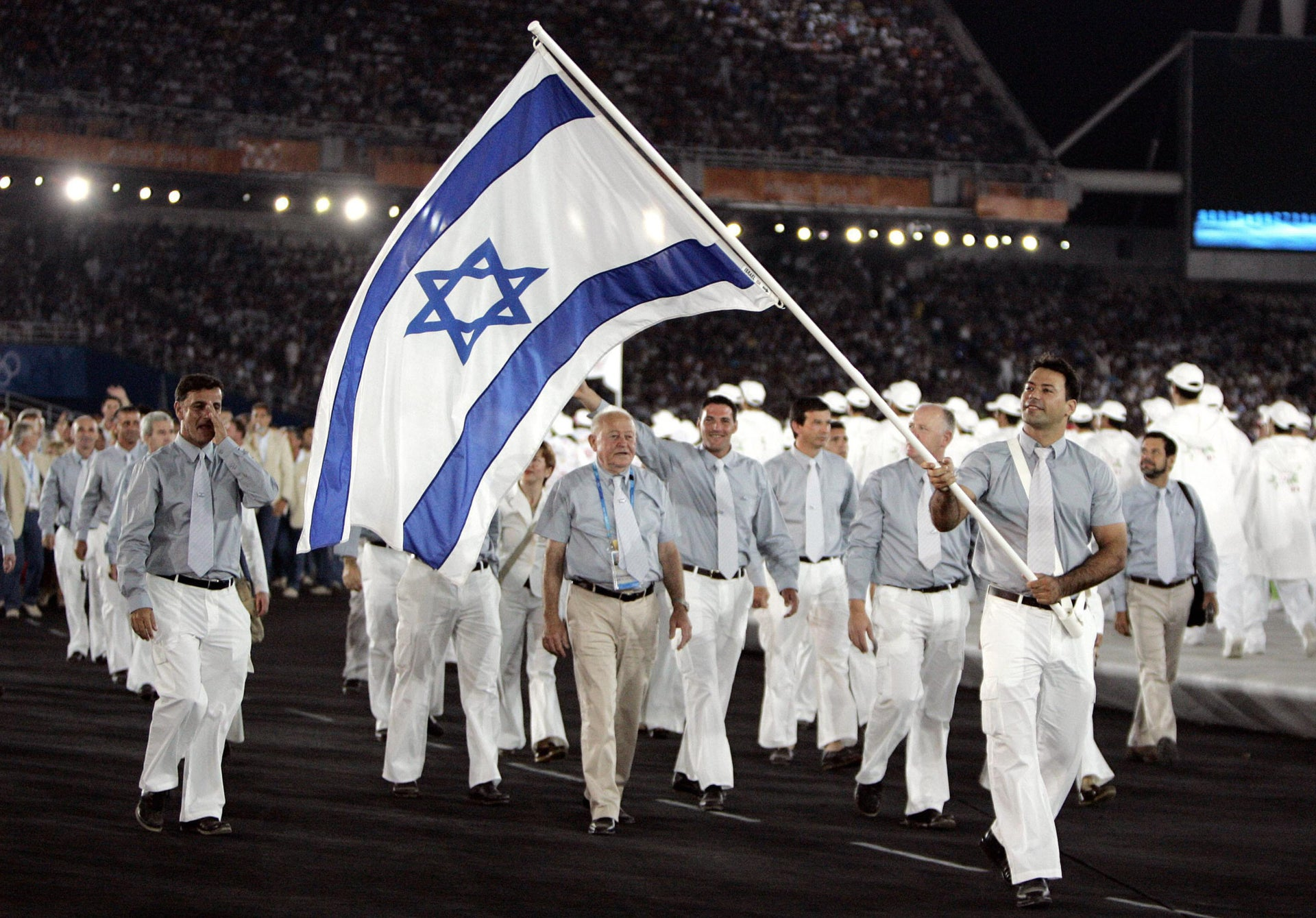 Members of Israeli Olympic team in Athens, Greece, 2004.