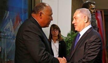 Egyptian Foreign Minister Sameh Shoukry, left, with Prime Minister Benjamin Netanyahu during a visit to Israel, July 10, 2016.