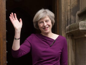 Theresa May gestures to members of the media after it was announced she won the second-round ballot of Conservative Party lawmakers, London, U.K., July 7, 2016.