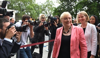 Angela Eagle, front right, arrives to launch her Labor leadership bid at the Institution of Engineering and Technology in London, July 11, 2016.