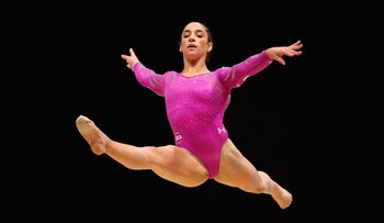Aly Raisman competing in the floor exercise at the 2015 World Artistic Gymnastics Championships in Glasgow, Scotland, Oct. 24, 2014.