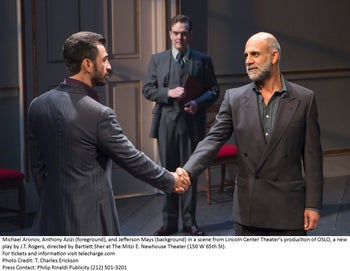 """From left: Michael Aronov, Jefferson Mays and Anthony Azizi in  J.T. Rogers' """"Oslo."""""""