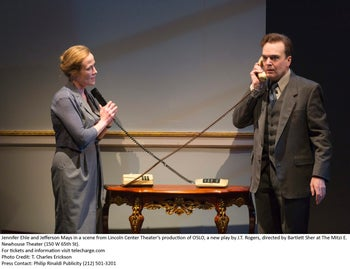 """Jennifer Ehle and Jefferson Mays in """"Oslo."""""""
