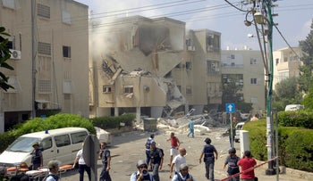 A Haifa building damaged in a rocket attack during the Second Lebanon War in 2006.