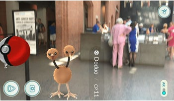 A Pokémon creature pops up in the lobby of the Holocaust Museum in Washington.