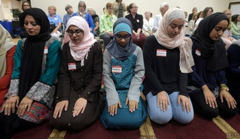 A special prayer service at the American Muslim Community Center after the mass-shooting at the Pulse Orlando nightclub. Monday, 13 June 2016, in Longwood, Fla.