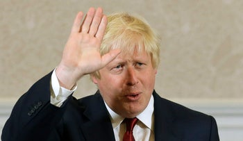Boris Johnson waves after announcing that he will not run for leadership of Britain's ruling Conservative Party, London, June 30, 2016.