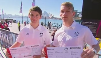 A screenshot of Jewish brothers Nathan and Joshua Katz, Australia's first set of brothers to compete in judo at the Olympics at the same time.