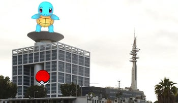 A Pokemon character superimposed on a photograph of the IDF military headquarters in Tel Aviv.