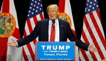 Republican U.S. presidential candidate Donald Trump gestures during a campaign rally in Tampa, Florida, U.S. June 11, 2016.