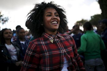 A member of the Ethiopian Jewish community in Israel dances during a ceremony marking the holiday of Sigd in Jerusalem November 11, 2015.