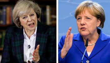 British Prime Minister Theresa May, left, and German Chancellor Angela Merkel.