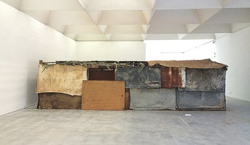 An installation of a Bedouin shack called 'Eternal Sukkah,' in the Israel Museum.