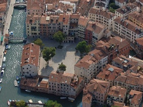An aerial view of the area of the Venice Ghetto, 2016.