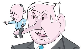 An illustration by Amos Biderman showing Netanyahu with a long nose and Naftali Bennett sitting on it.