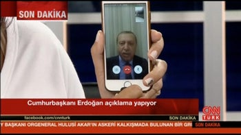 Still frame taken from video shows Turkey's President Tayyip Erdogan speaking via a Facetime video connection to address the nation during an attempted coup, in Marmais, Turkey, on July 16, 2016.