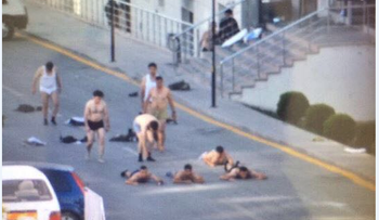 Image of rebel soldiers surrendering to pro-regime Turkish outside gendarmerie HQ in Ankara. July 16, 2016.