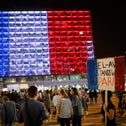 Tel Aviv city hall lit up in the colors of the French flag at a rally in solidarity with Paris after Friday's terror attacks, November 14, 2015.