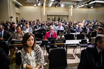 Representatives attend a session of UNESCO World Heritage Committee on July 11, 2016 in Istanbul.