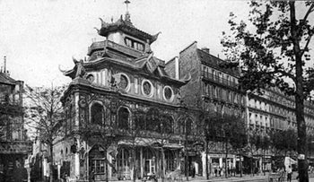A postcard of the Bataclan building, ca. 1900.