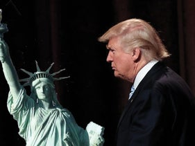 Head of the Statue of Liberty unpacked in New York, 1885: Donald Trump, head of the Republican Party.
