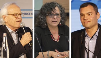 From Left: Martin Indyk, Aida Touma-Suleiman, Peter Beinart, Efraim Halevy and Talia Sasson.